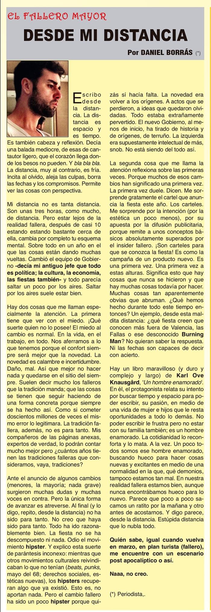 """Artículo de opinióbn. """"Desde mi distancia"""" Daniel Borrás"""